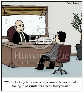 toiling in obscurity job office cartoon