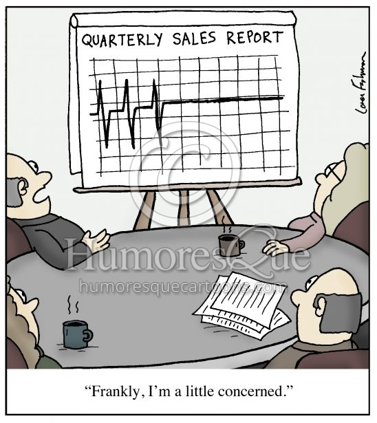 ekg sales and profit chart flatlining cartoon