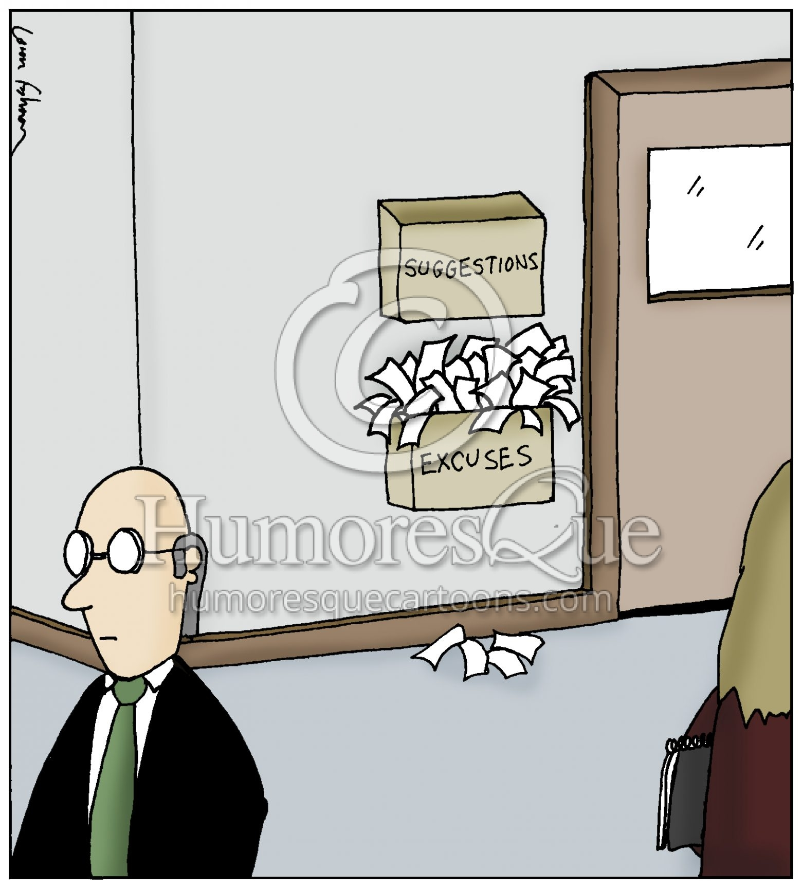 suggestions and excused boxes in office cartoon