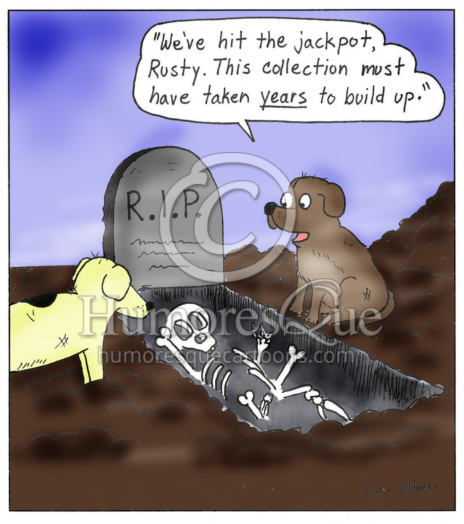 dogs digging up a grave and finding bones cartoon