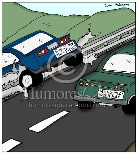 god is my co-pilot bumper sticker atheist cartoon