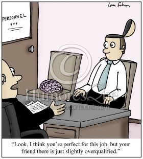 brainless co-worker job interview cartoon