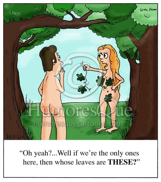 trouble in paradise cartoon where eve finds a leaf bra