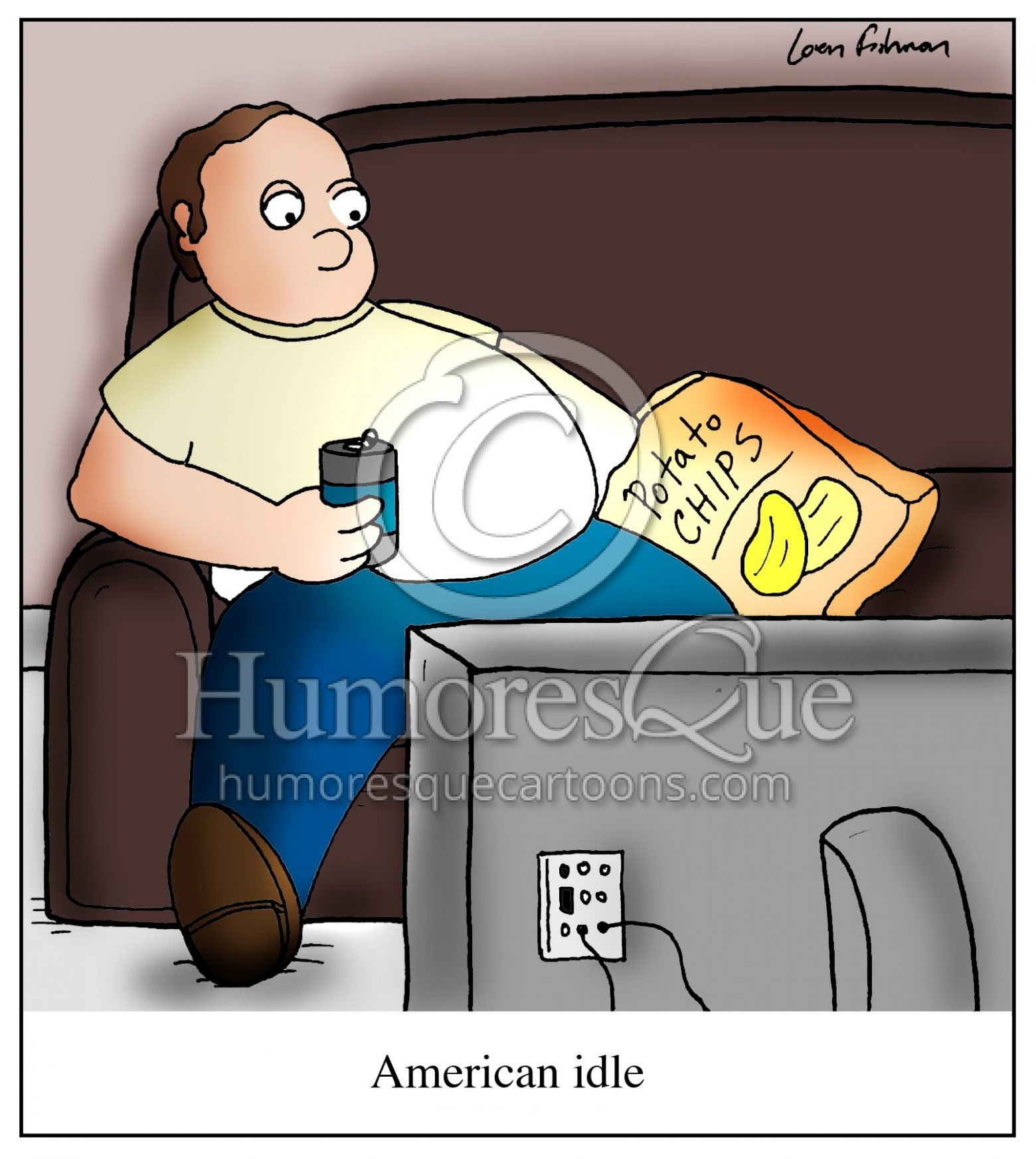 american idle lazy american slob cartoon
