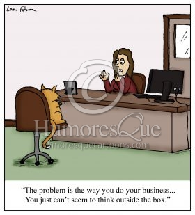 cat doing business outside the box cartoon