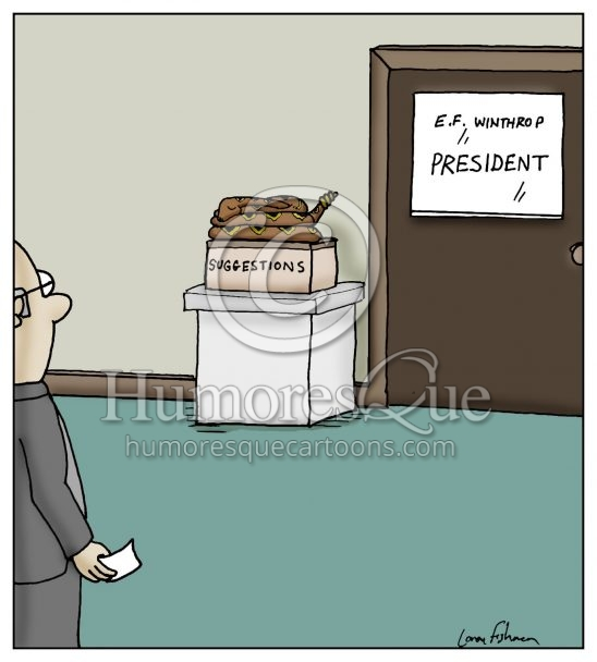 snake on suggestions box cartoon