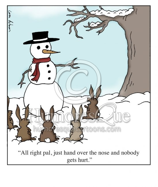 rabbits stealing carrot from a snowman cartoon