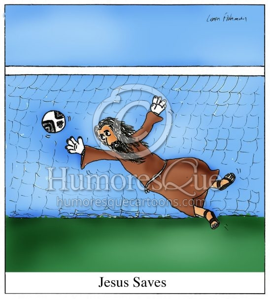 jesus saves soccer goalie cartoon