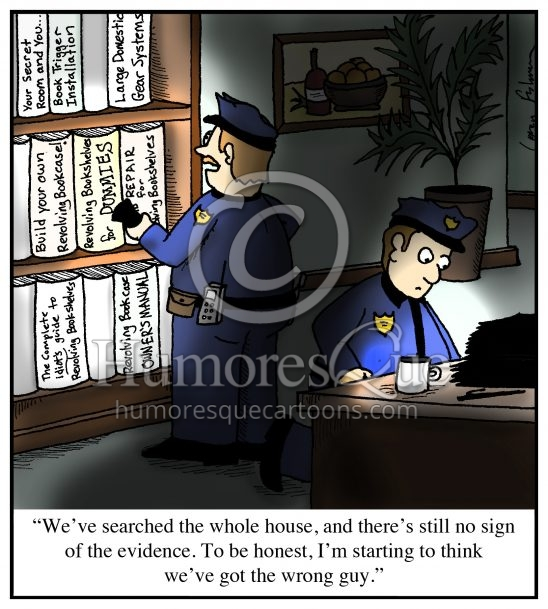 revolving bookshelf police search cartoon