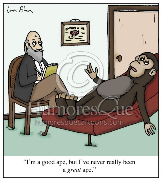 good ape not great ape psychiatrist cartoon