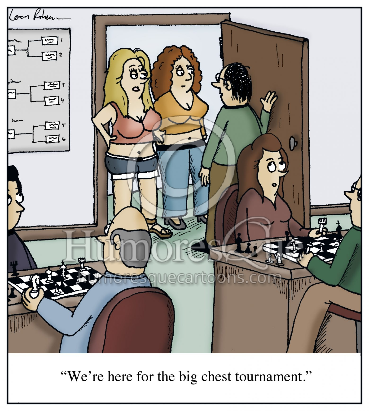 big chest chess tournament cartoon