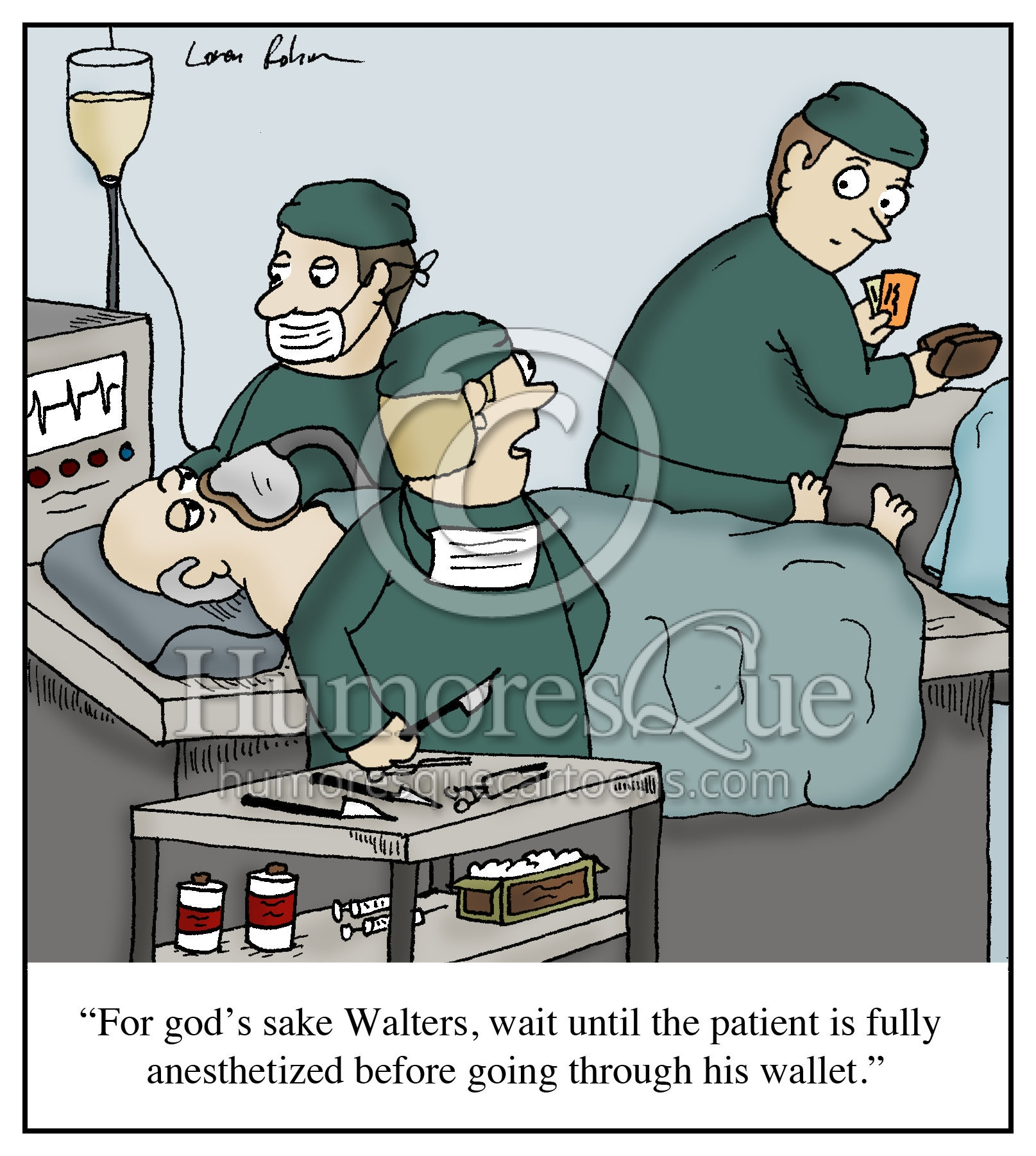 Surgical cartoons surgical cartoon funny surgical picture surgical - Surgeon Stealing Wallet Cartoon