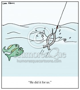 Jesus fish sacrifice fishing cartoon
