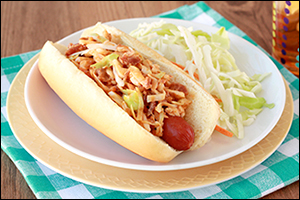 Hungry Girl's Bacon BBQ Slaw Dog