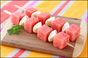 Watermelon + Mini Babybel = Fruity Cheese Skewers