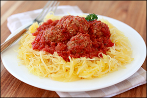 Hungry Girl's Speedy Spaghetti Squash and Meatballs