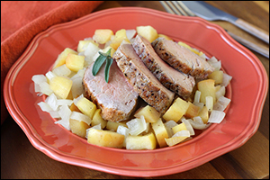 Hungry Girl's Pork Tenderloin with Apples & Onions