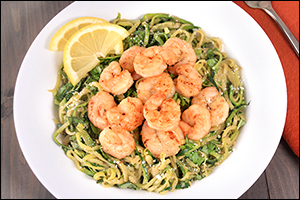 Hungry Girl's Zucchini Spaghetti with Shrimp
