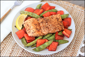 Hungry Girl's Balsamic Honey Salmon 'n Veggies