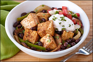 Hungry Girl's Healthy Vegetarian Fajita Tofu Bowl Recipe