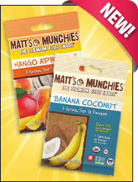 Matt's Munchies Mango Apricot and Banana Coconut Premium Fruit Snacks