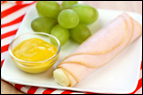 Turkey-Wrapped String Cheese + grapes