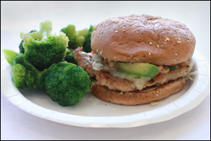 Denny's Cali Jack Turkey Burger with Broccoli
