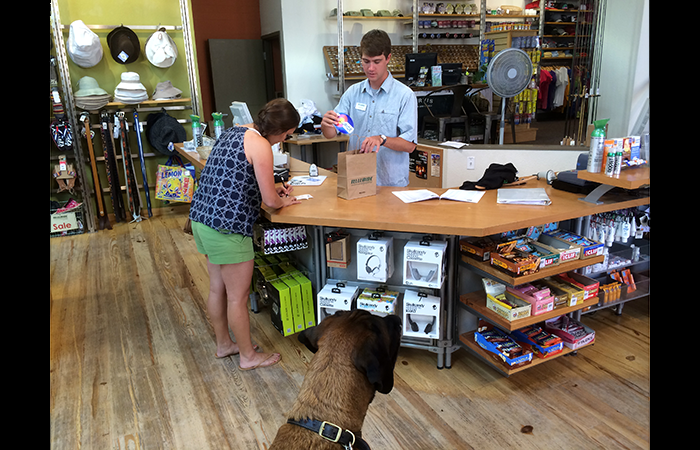 Telluride is dog-friendly. Lyle's first store visit.