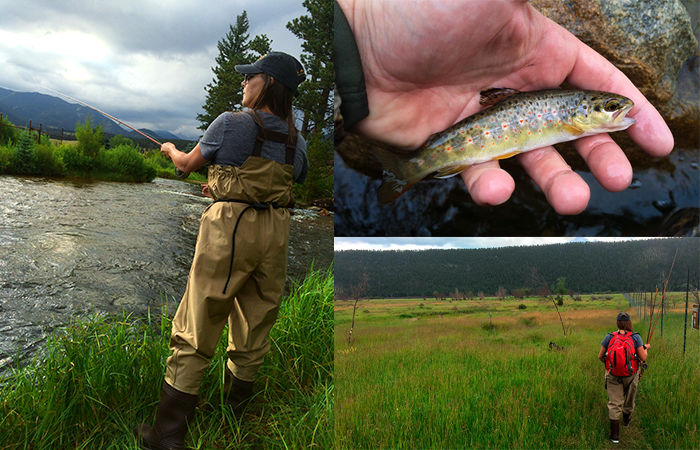 Kate fishing the Big T, my first wild Brown trout, and our walk to Cub Creek.