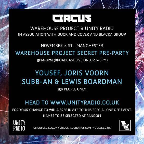 EVENT: Circus Recordings Exclusive Live Show & Broadcast - Unity Radio