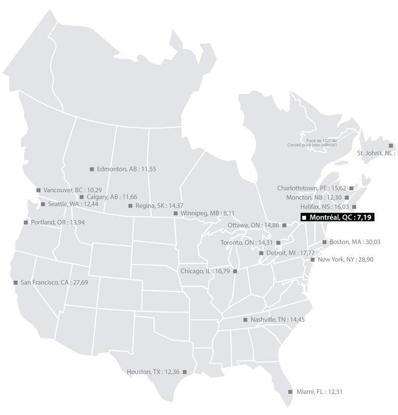 Cette carte montre que les tarifs d'électricité sont plus élevés ailleurs en Amérique du Nord qu'au Québec.