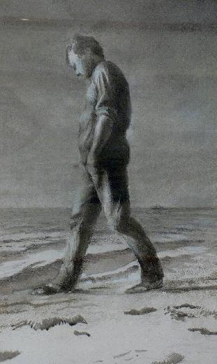 Kevin_mortensen_1994_man_walking__watercolour_on_paper_74x51cm