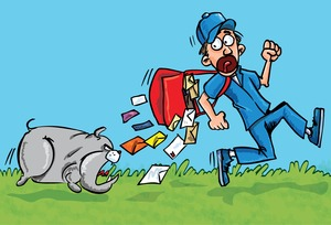 cartoon of dog chasing mailman
