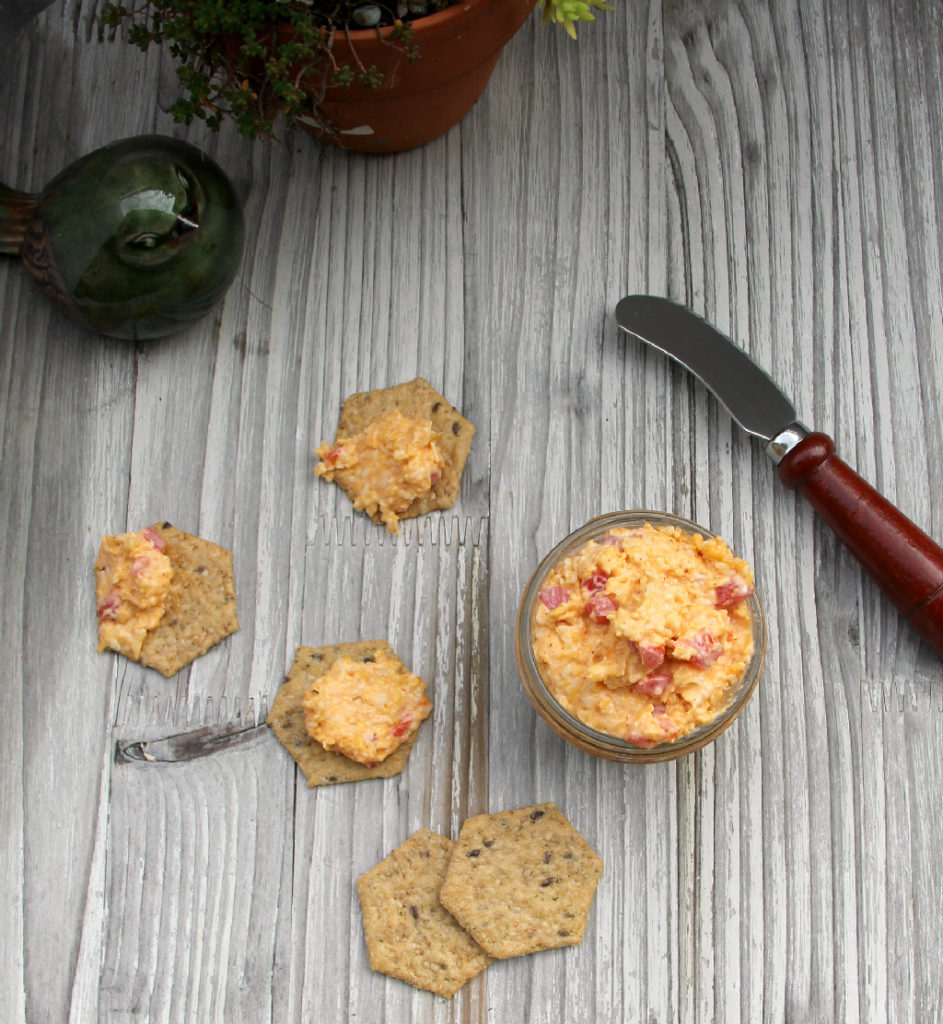 Homemade Pimento Cheese—classic and simple with just Cheddar cheese, mayo, pimentos and cayenne pepper. Easy and delicious!