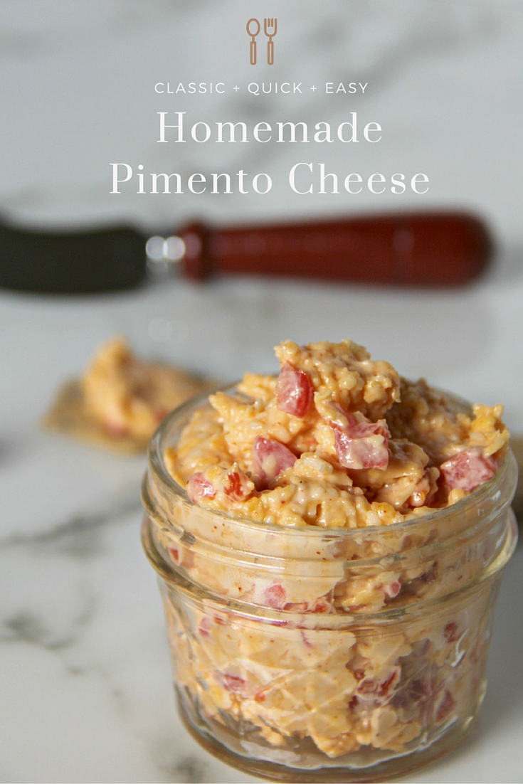 Homemade Pimento Cheese—classic and simple, just cheese, mayo, pimentos, and Cayenne pepper! Easy and delicious!