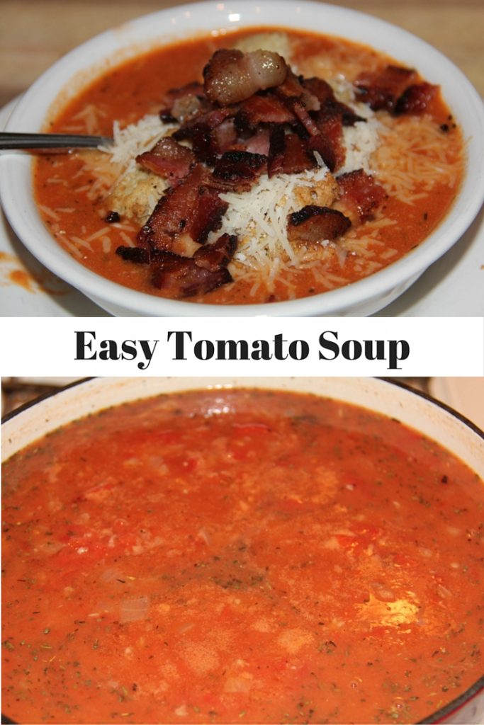 Easy Tomato Soup with canned tomatoes, dried herbs, fresh onion, and a ...