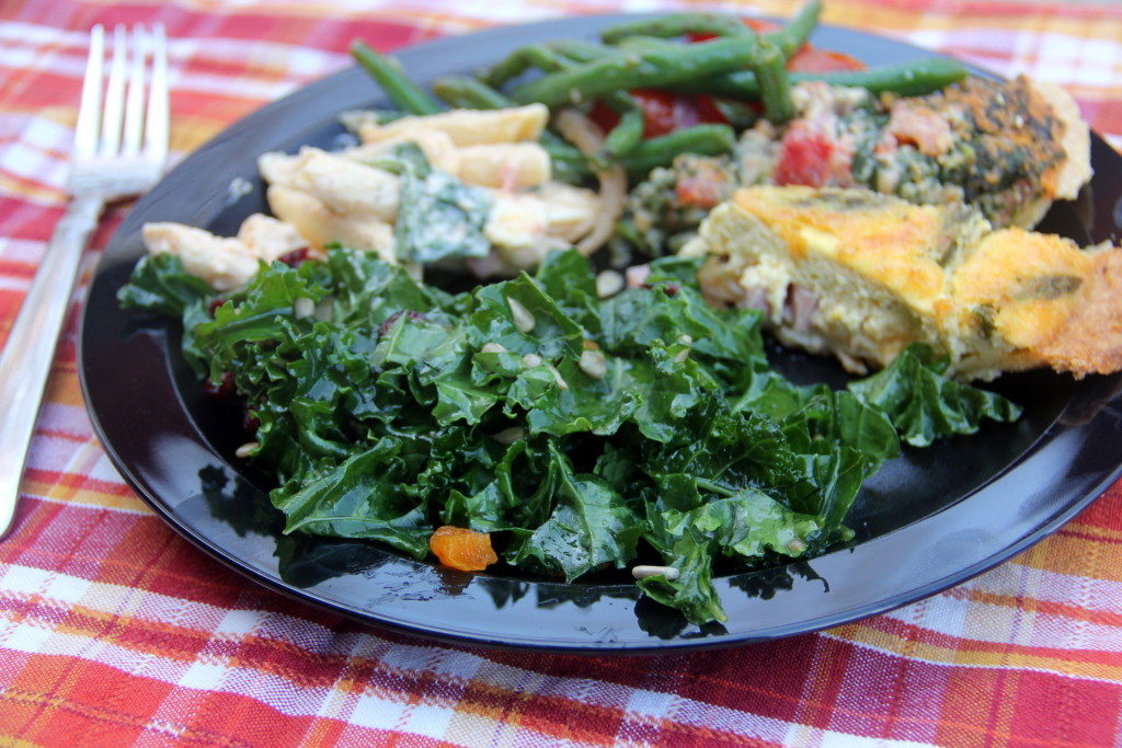 Easy Kale Salad with Mango Chutney Dressing is simple, elegant, healthy, and delicious!