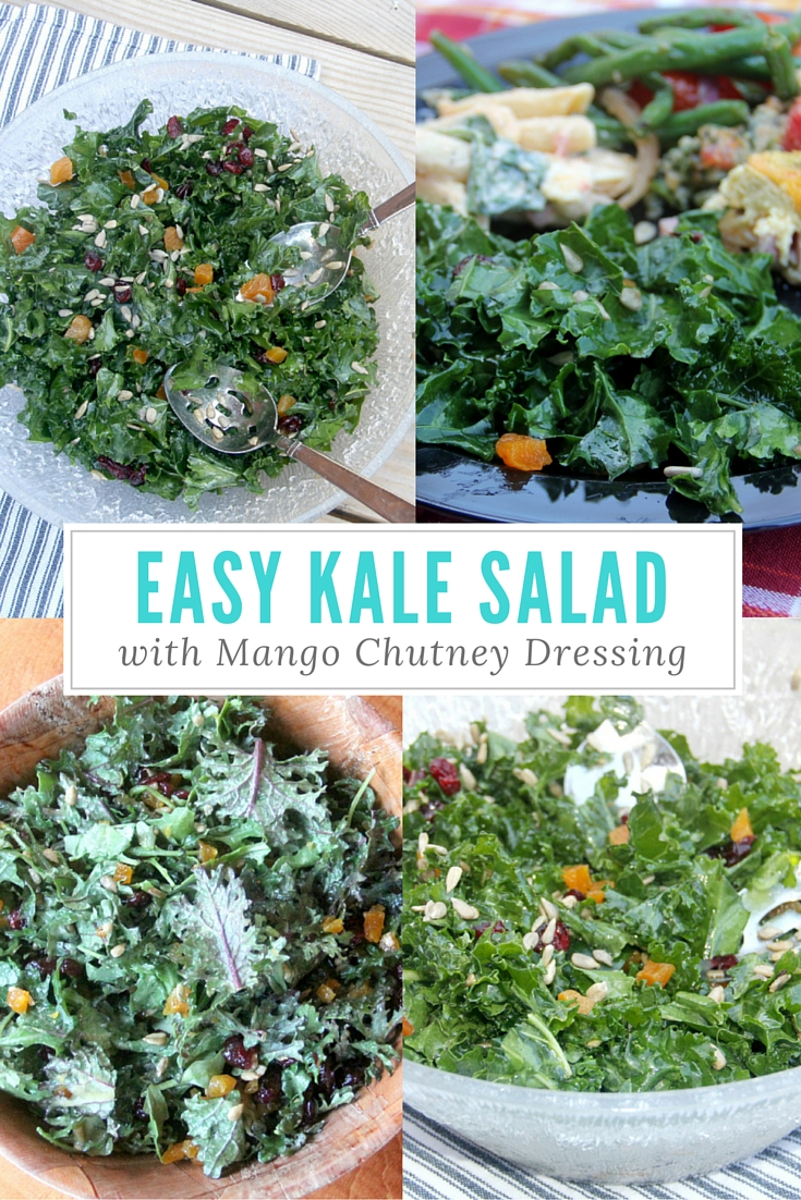 Easy Kale Salad is a sweet and savory salad filled with dried fruit and sunflower seeds. A delicious mango chutney dressing gives this salad a big WOW! Even kale haters love this salad!
