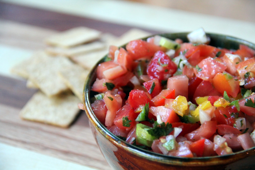 Fresh salsa made with garden fresh tomatoes, bell peppers, Vidalia onions, and herbs. It's a great sweet and savory appetizer!
