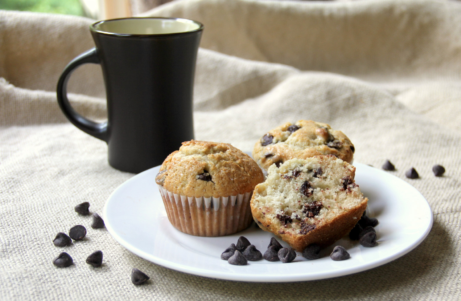 Homemade Chocolate Chip Muffins—better than a mix, moist, and filled with real chocolate chips!