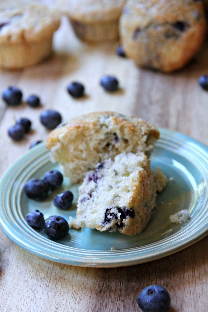 Homemade blueberry muffins--you can use fresh or frozen blueberries for these super moist and easy blueberry muffins!