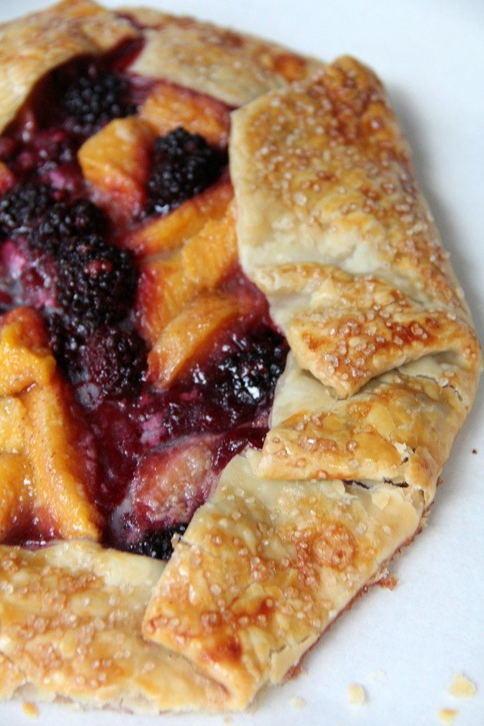 Peach and Blackberry Galette filled with fresh blackberries and luscious, ripe peaches! Easy and delicious!