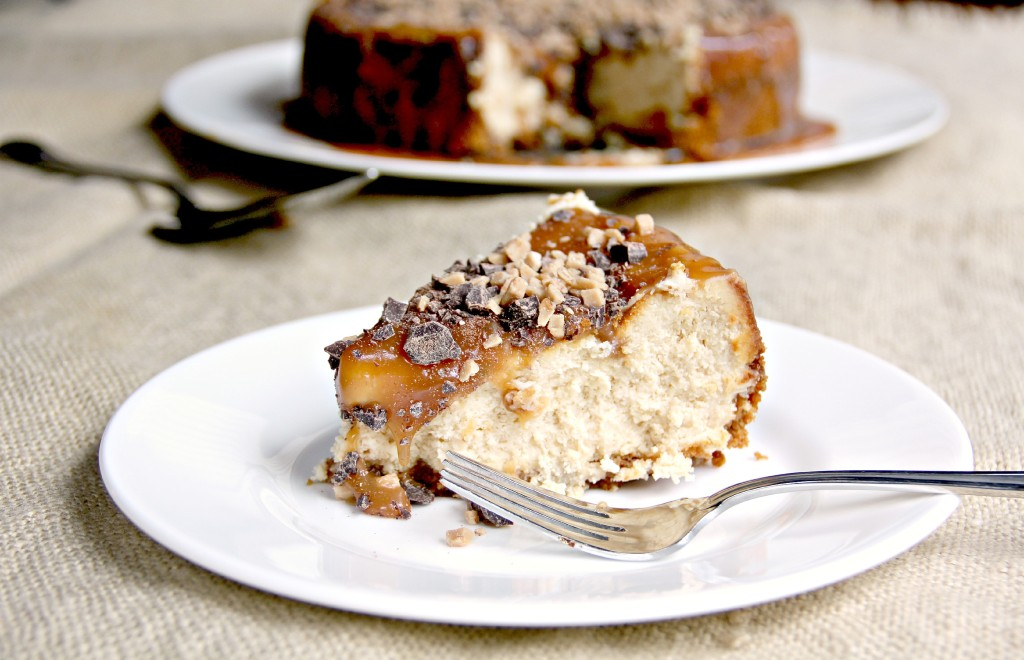 slice of caramel cheesecake