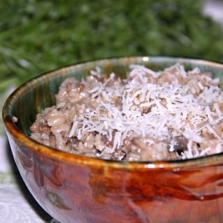 bowl of sausage and mushroom risotto