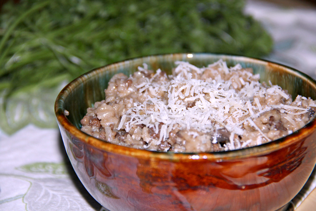 bowl of sausage and mushroom risotto
