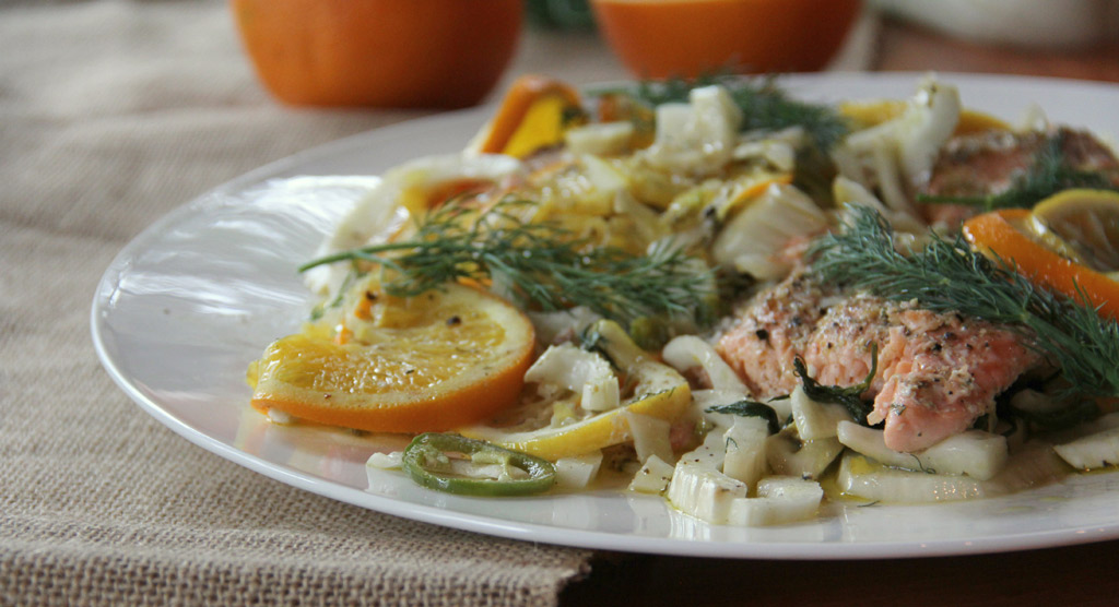Salmon with Fennel and Citrus slices.