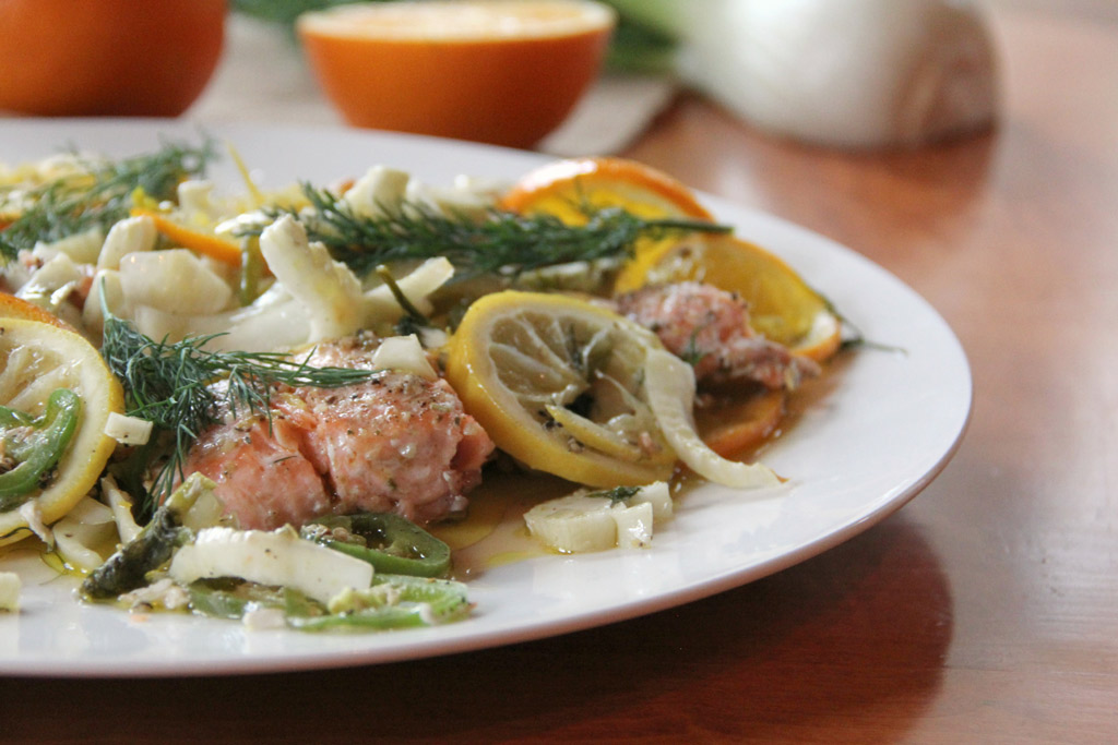 Salmon recipe with fennel and citrus.