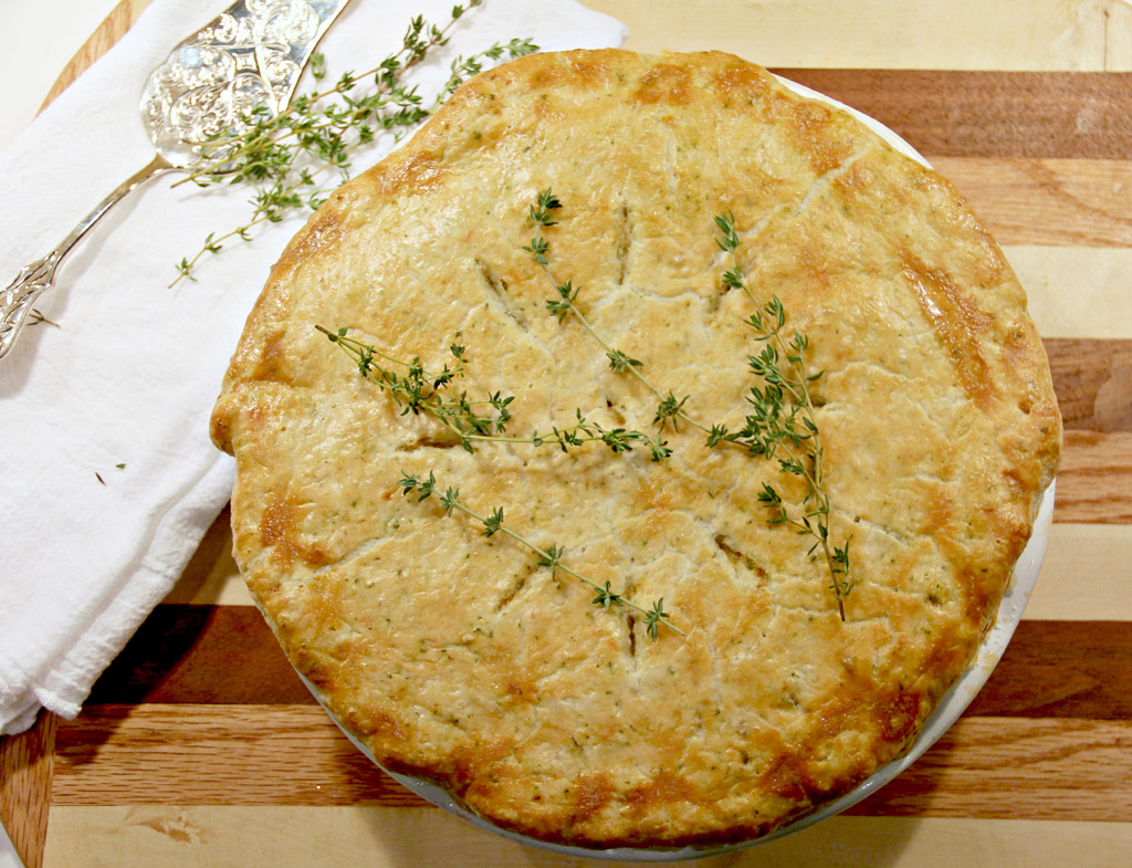 Chicken Pot Pie with vegetables and creamy sherry sauce.
