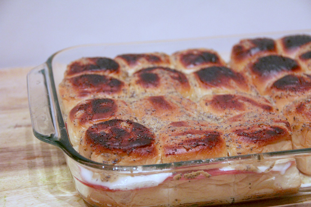 dish of baked Italian sliders