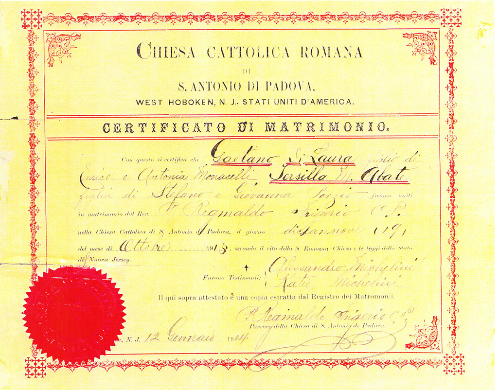 Italian marriage certificate
